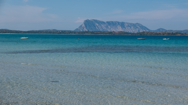Beach at San Teodoro with the Isola Tavolara in the distance