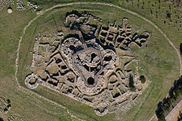 Aerial view of the Nuraghe Genna Maria