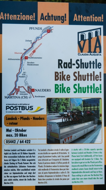 Sign for the bike-shuttle over the Reschenpass
