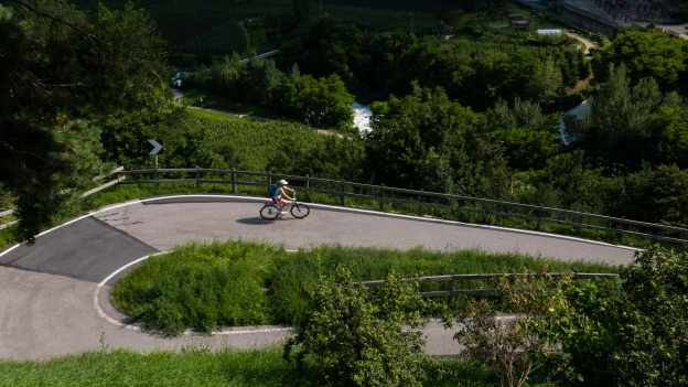 Cyclist on the Vinschgau Radweg (Via Claudia) near Algund