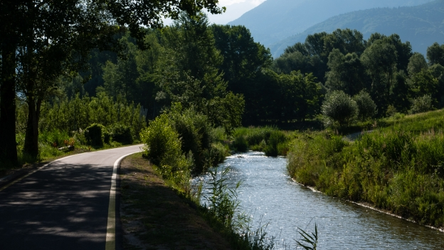 The Ciclabile della Valsugana cycleway beside the Brenta river near Levico Terme