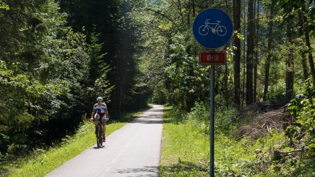 Cyclists on the D2 cycleway near Kranjska Gora