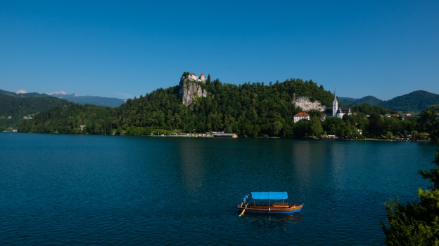 Pletna boat on Lake Bled (Bledjsko jezero)