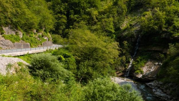 The 403 road beside the Bača river near Korotnica