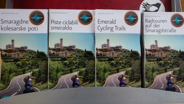 Emerald Trails maps on display in Kobarid TIC