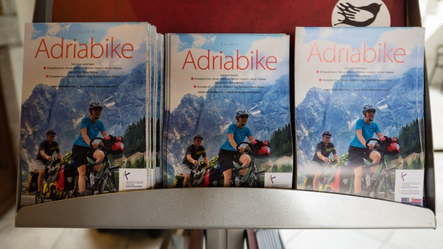 Adriabike maps on display in the Kobarid TIC