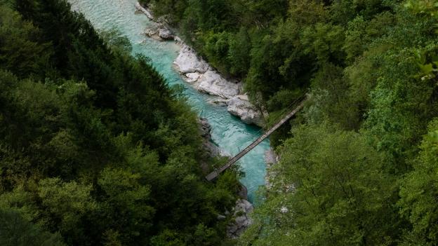 Bridge over the Soča river seen from the Trdnava Kluže