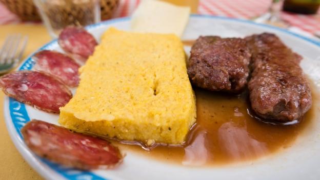 Salsiccia e polenta (sausage and polenta) Trattoria Fontanon di Goriuda
