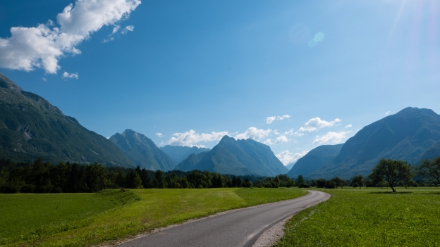 The road to Bovec near Čezsoča