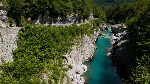 The Soča river near Kobarid - seen from the Napoleon bridge