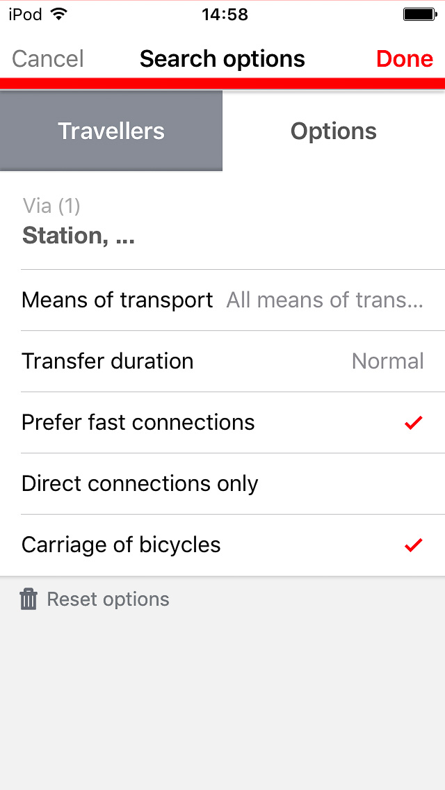 DB Navigator Options tab with carriage of bicycles ticked