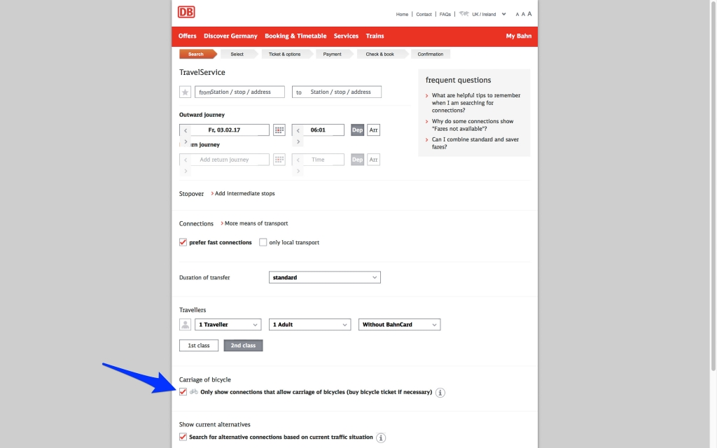 bahn.com search options page