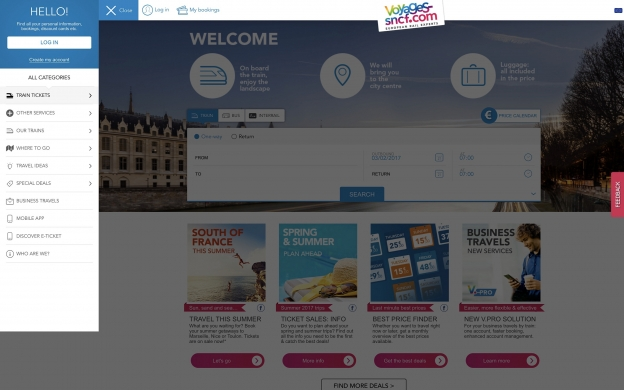 The menu on en.voyages-sncf.com which takes you to the search page with an option to restrict your search to bike-friendly services.