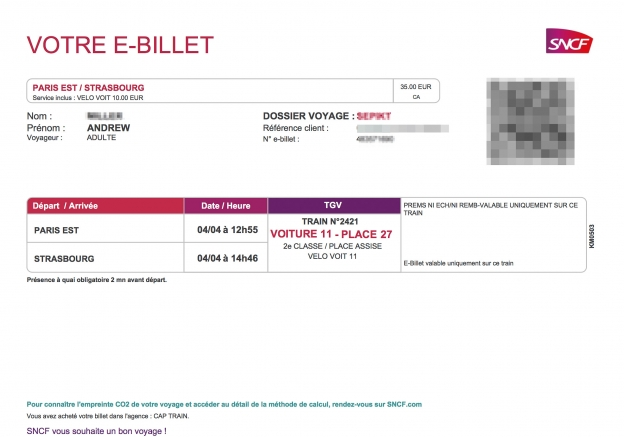 SNCF e-ticket purchased via trainline.eu