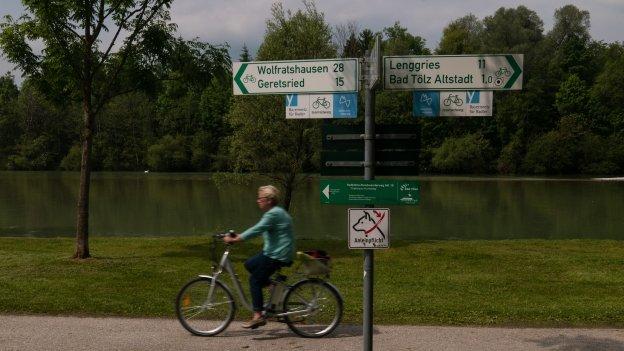 Cyclist by the Isar near Bad Tölz