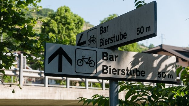 Signs on the Brennerradroute near Kollmann (Colma)