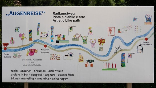 Sign for the Radkunstweg ('Artistic bike path') along the Brennerradroute near Bozen (Bolzano)