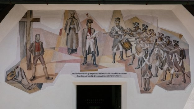 Mural on the Baumgartner Stöckl depicting the execution of Peter Sigmayr
