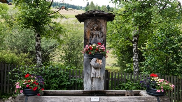 Water fountain in Schmieden (Ferrara) on the cycle route to the Pragser Wildsee (Lago di Braies)