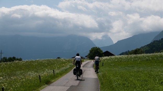Cyclists on the Tauernradweg  near Kuchl