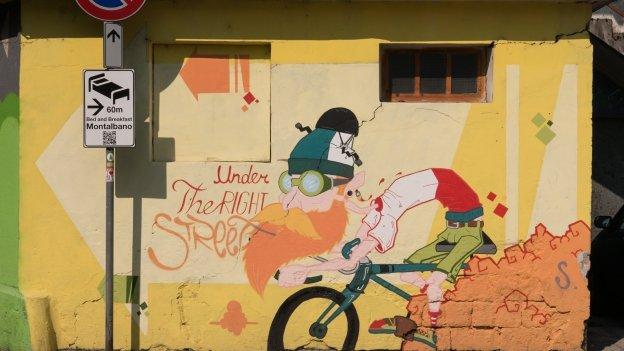 Mural in Mori on the cycle route to the Lago di Garda