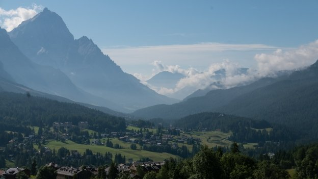View from the road to the Passo Falzarego looking towards the Cadore
