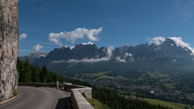 View from the road to the Passo Falzarego looking back over Cortina d'Ampezzo