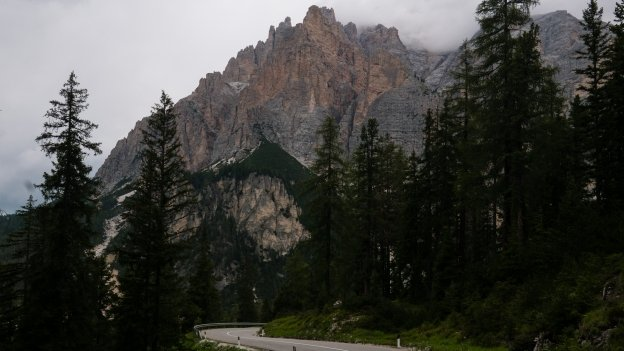 The road from the Passo Valparola descending into the Val di San Cassiano