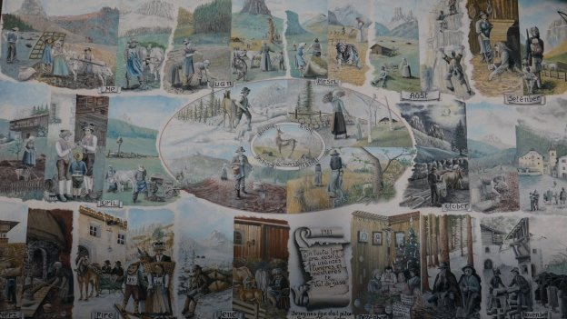 Mural depicting the months of the year (Cesa Bernard, Canazei)
