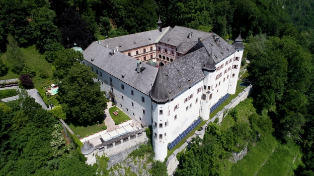 Aerial view of the Schloss Tratzberg (Tratzberg Castle) near Jenbach