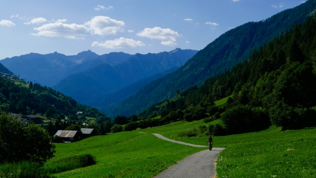 Cyclist on the Val di Sole cycleway climbing towards  Cogolo