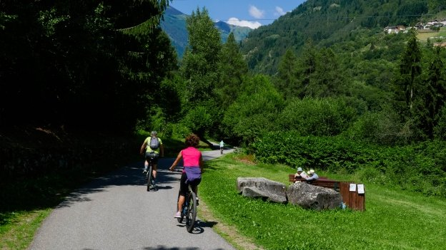 Cyclists on the Val di Sole cycleway near Pellizzano