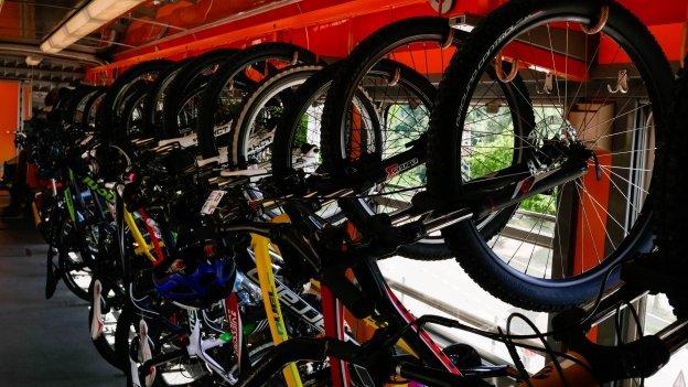 Bikes on the Trentino Trasporti train to Mezzana