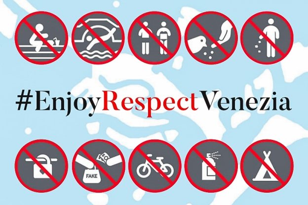Graphic by the Venezia city council showing behaviour that could lead to a fine.