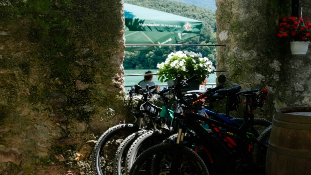 Bikes in the Bar Castel Toblino