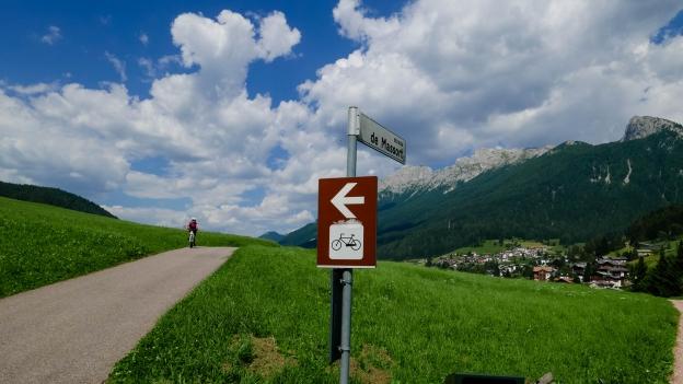 The Val di Fiemme Val di Fassa cycleway approaching  Moena