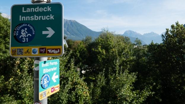 Signs on the Innradweg near Imst